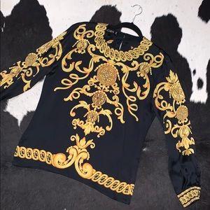 Escada x Margaretha Ley baroque silk blouse